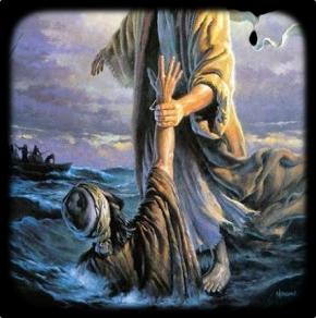 Jesus salva a Pedro que se hundia
