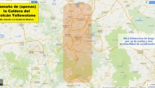 Tamaño de (apenas) la Caldera del Volcán Yellowstone (En relación a la Ciudad de México) - 88,5 kilómetros de largo por 32 de ancho y una profundidad de 14 kilómetros.